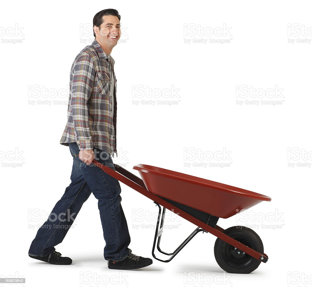 Empty Wheel Barrow stock photo