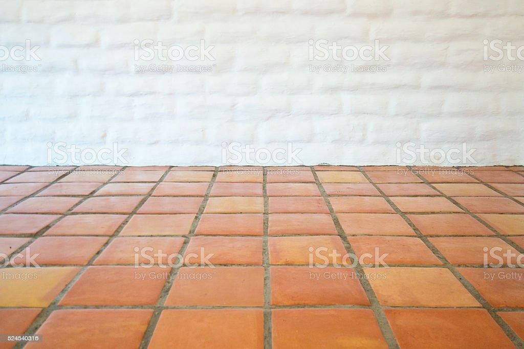 Empty White Adobe Brick Wall and Tile, Santa Fe stock photo