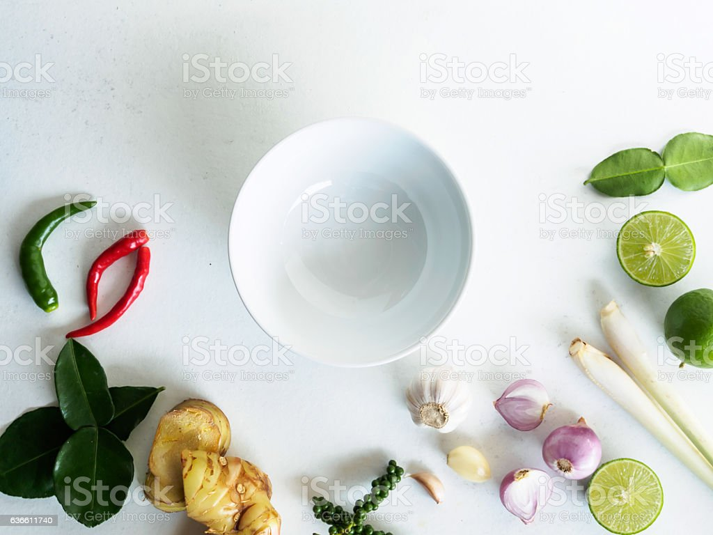 empty white bowl and various vegetable of ingradient cooking food stock photo