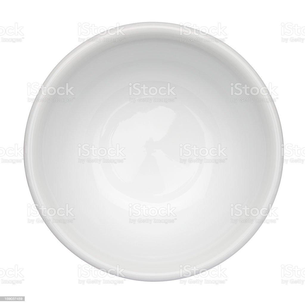 Empty, white bowl up against white background stock photo