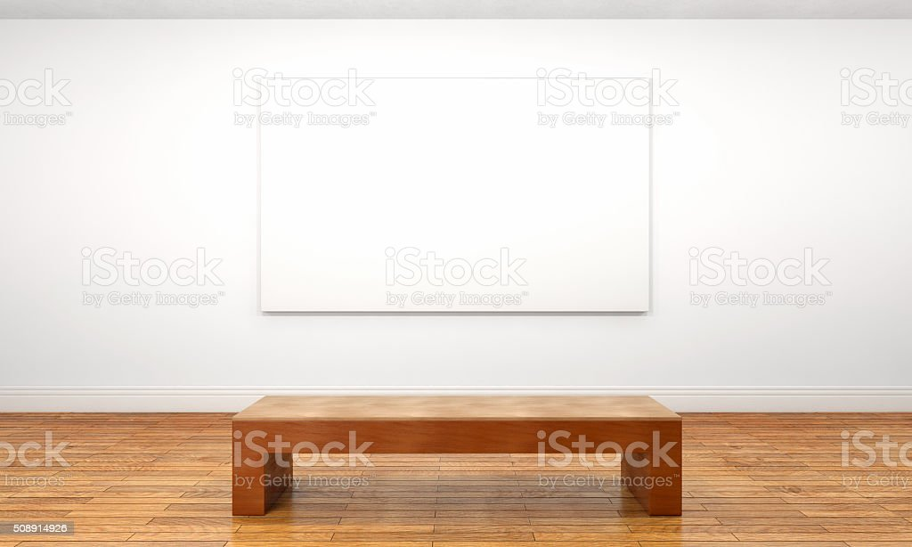 Empty white canvas on museum wall with bench stock photo