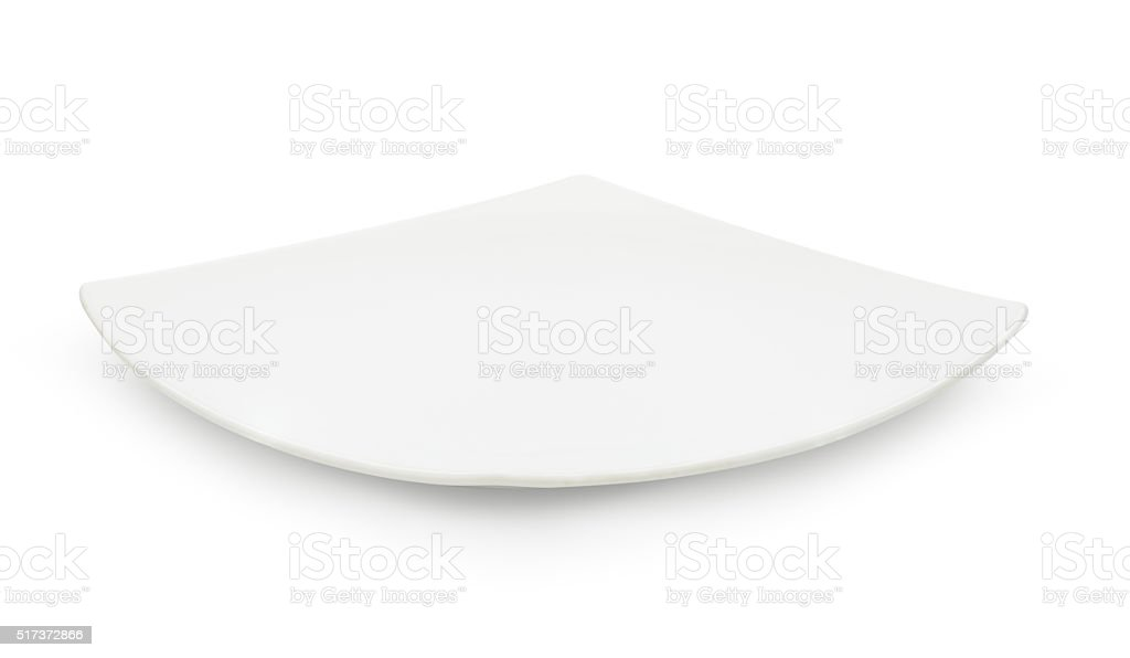 Empty white ceramic dish on white background stock photo