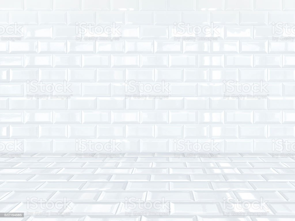 Empty White ceramic tiles brick room stock photo