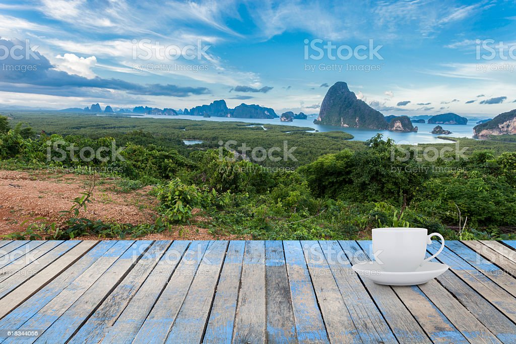 Empty white Coffee cup with Wood floor stock photo
