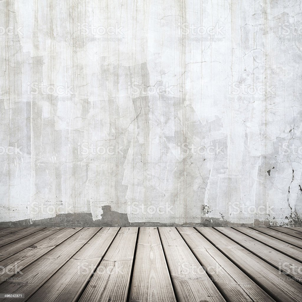 Empty white concrete interior with wooden floor stock photo