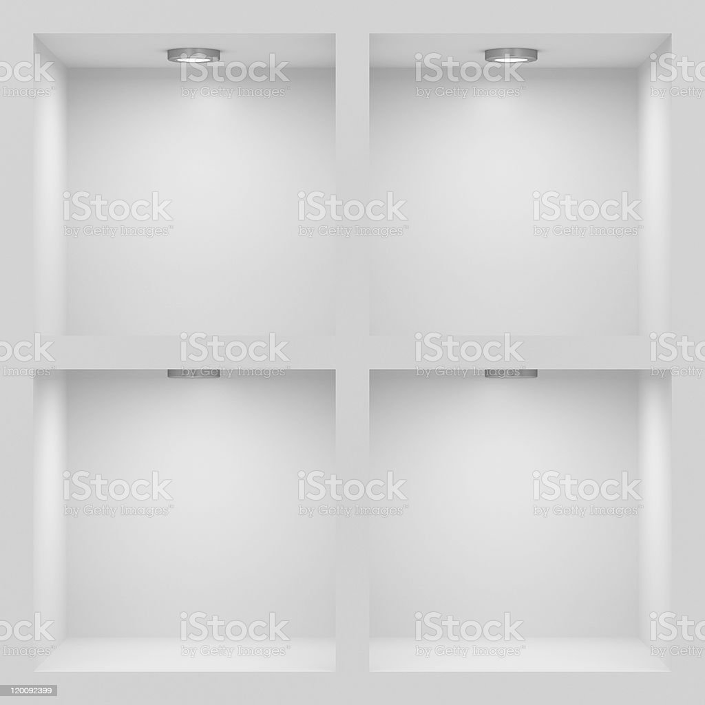 Empty white cubicles for storage royalty-free stock photo