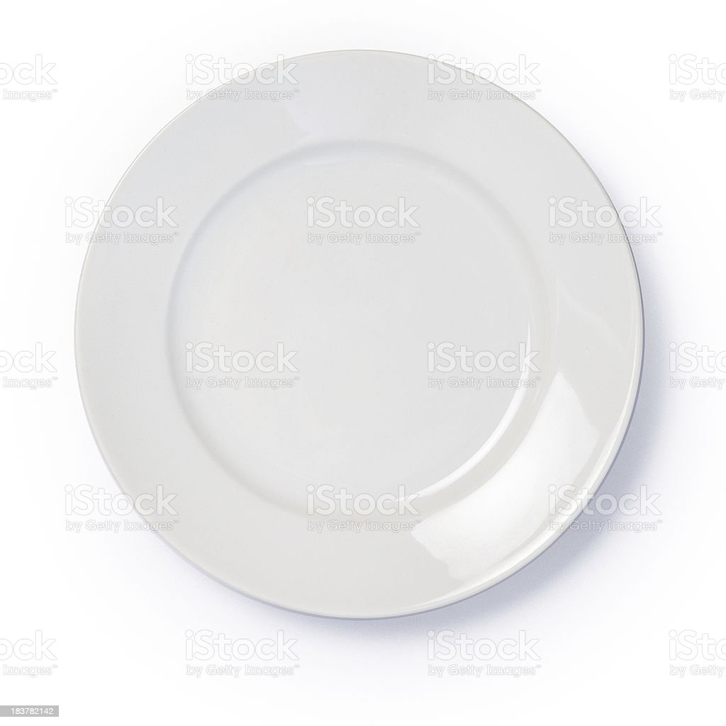 Empty white dinner plate on white background stock photo
