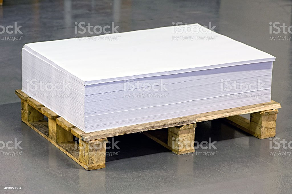 Empty White Documents on Top of Paper Pallet stock photo