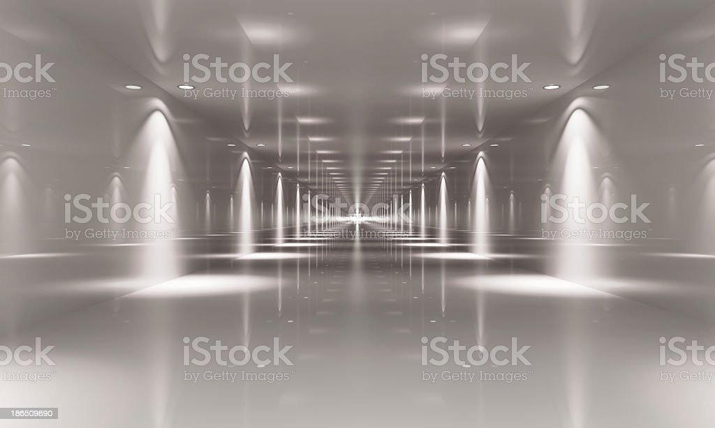 Empty white hall with light beams on both sides of the hall stock photo