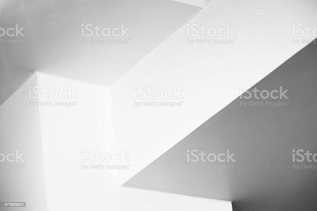 Empty white interior design with corners stock photo