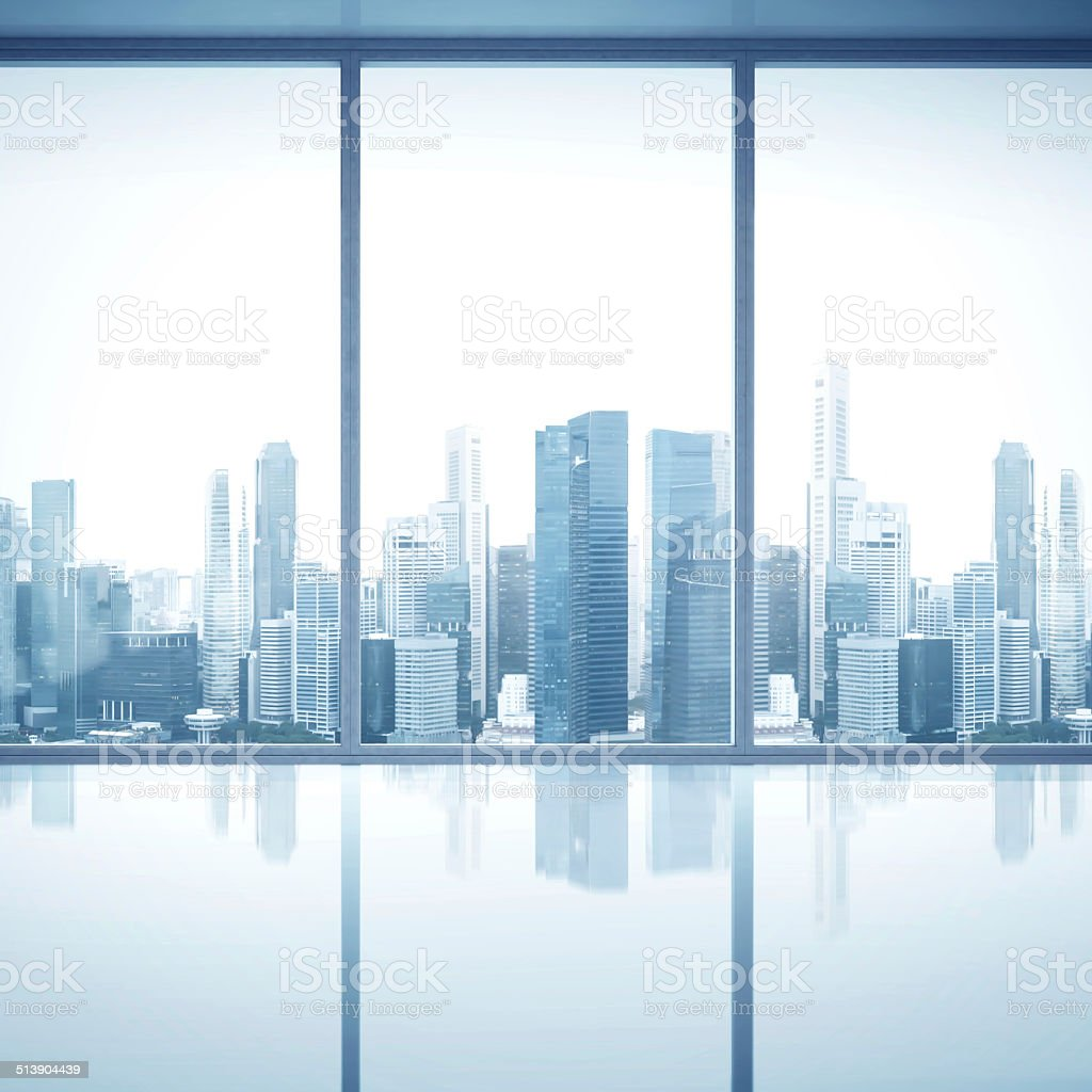 Empty white interior with large windows stock photo