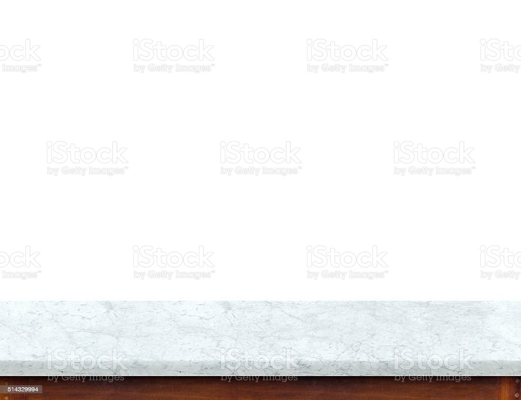 Empty white marble table top isolate on white background stock photo