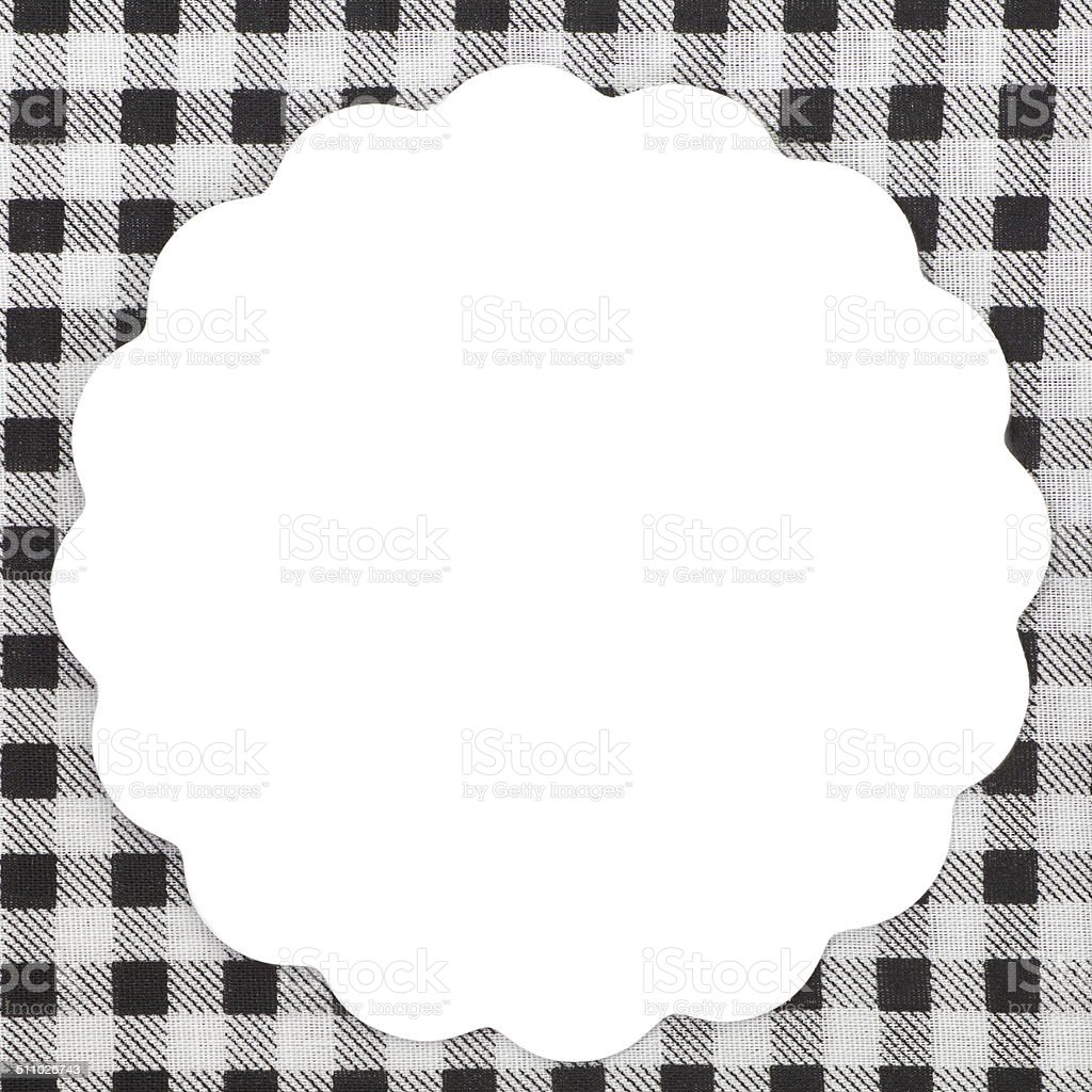empty white note on tablecloth for recipe stock photo