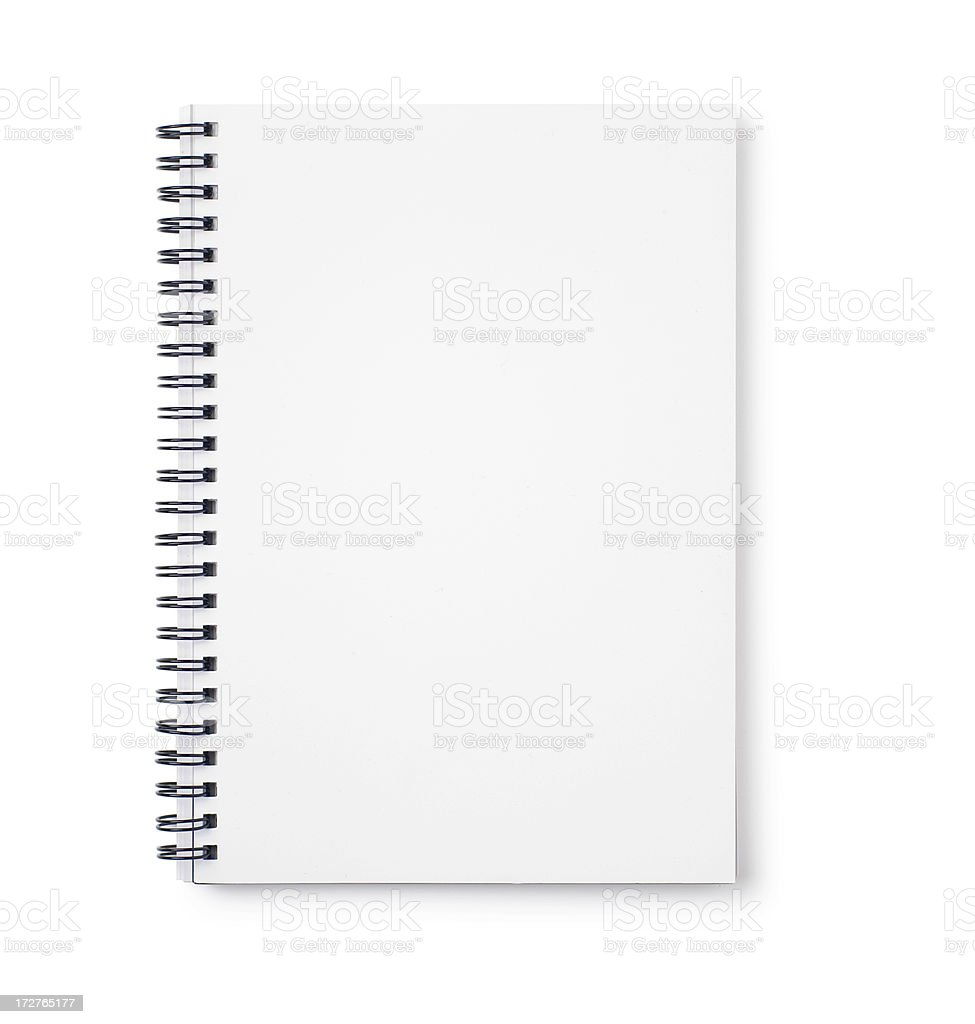 Empty white notebook with black wire binding stock photo