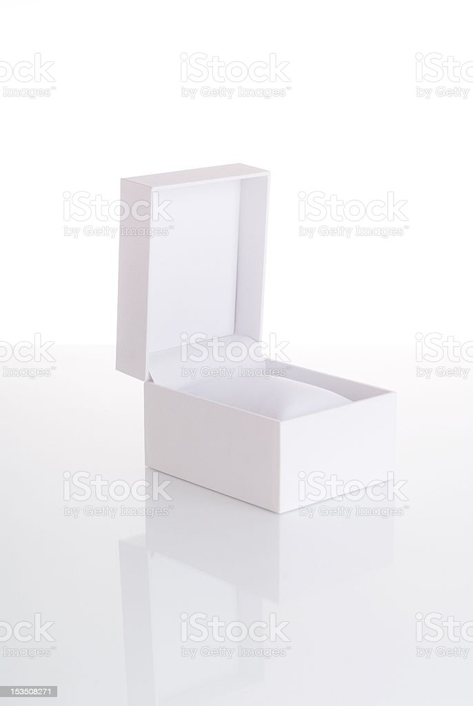Empty white open jewelry box stock photo