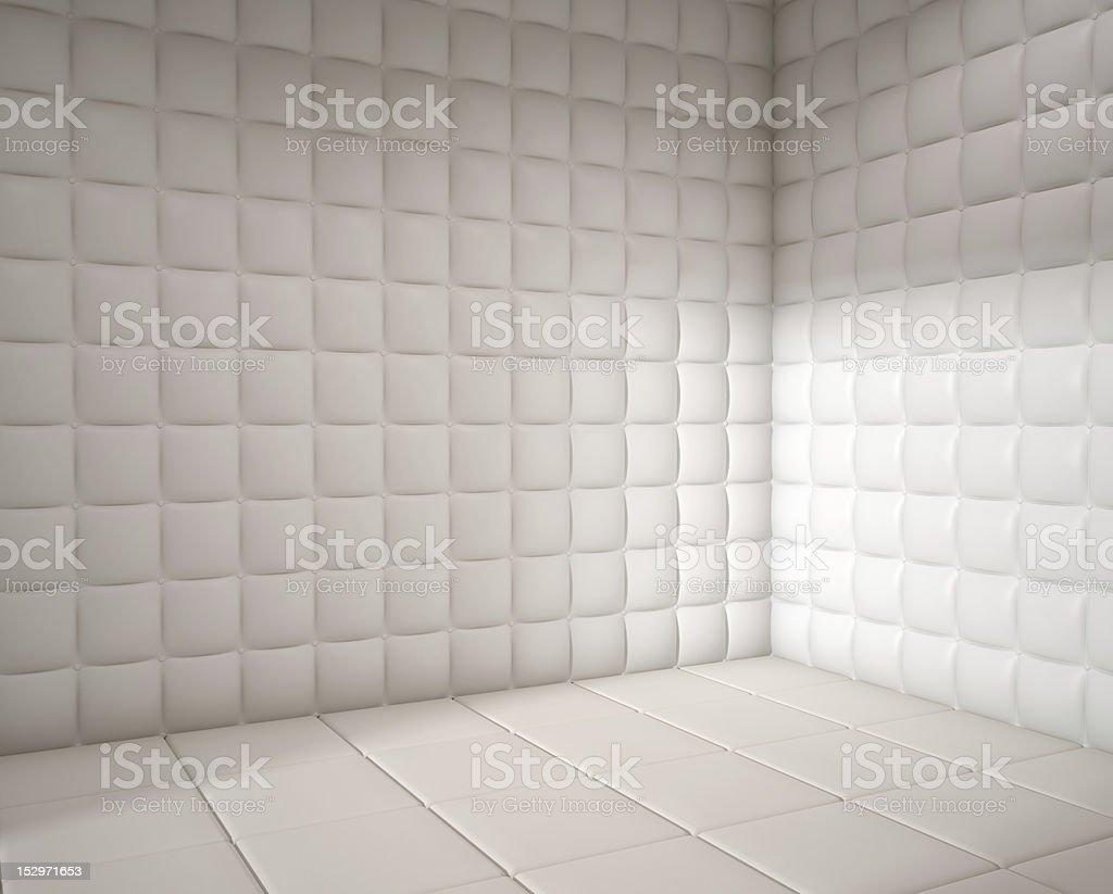empty white padded room stock photo