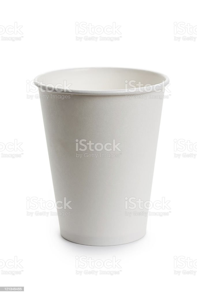 Empty white paper cup on white background stock photo