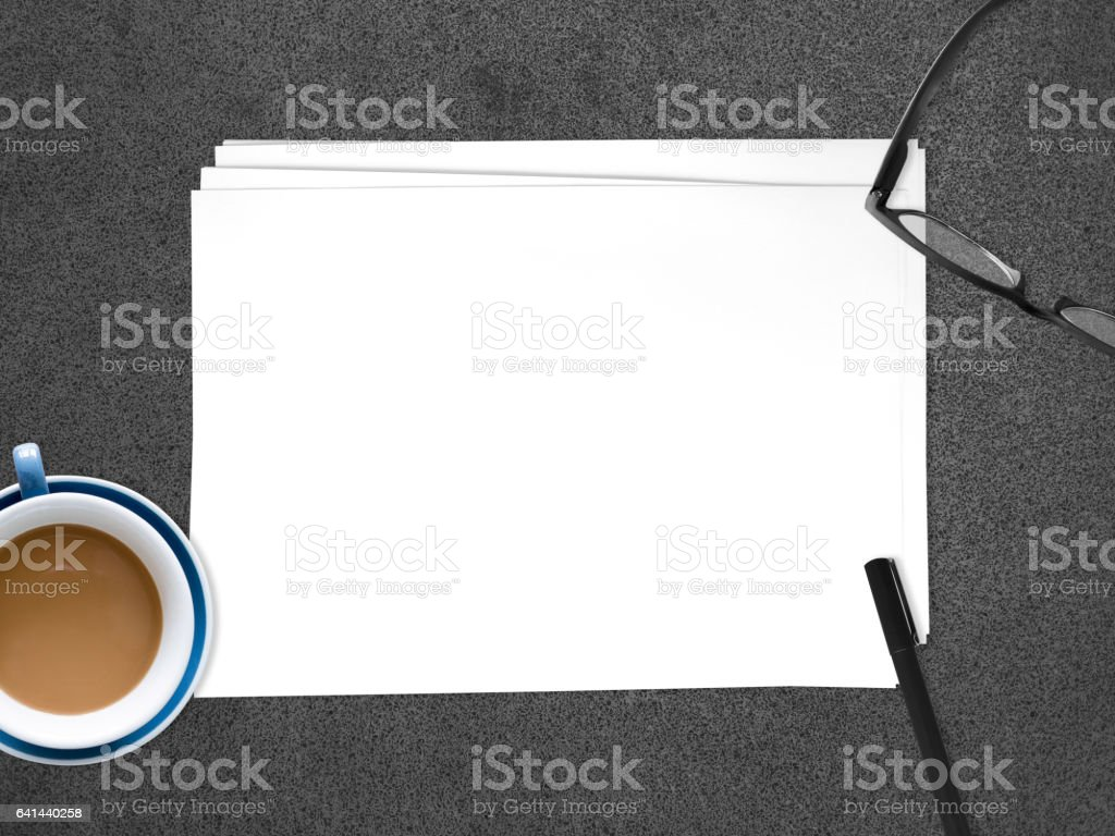 Empty white paper document to insert text. stock photo