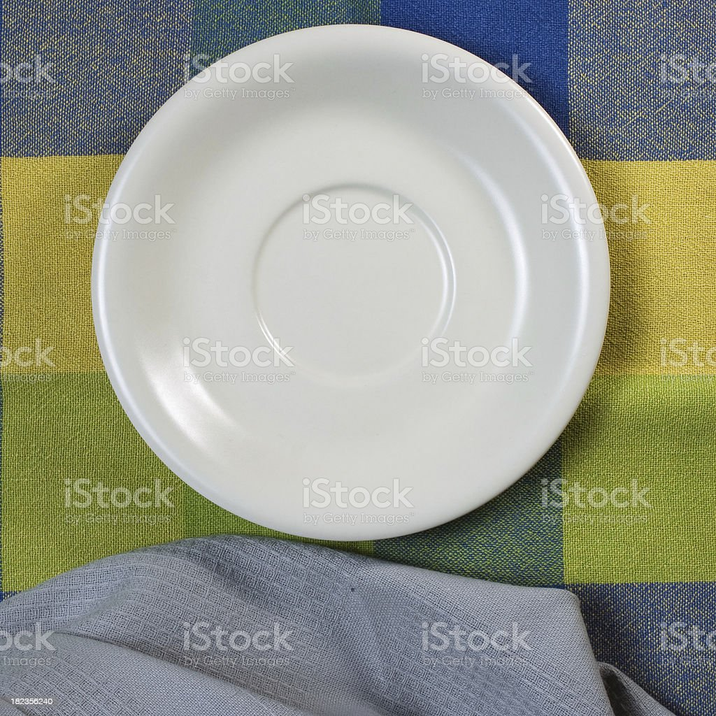 Empty white plate on wooden table royalty-free stock photo