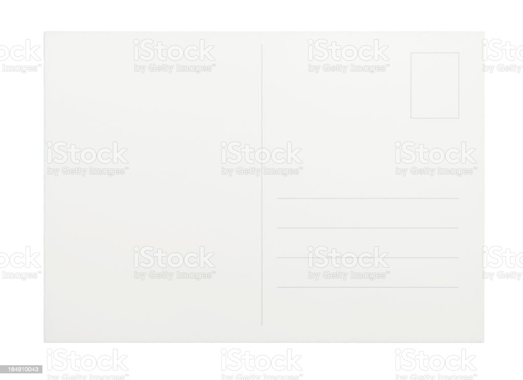 Empty white postcard on a white background royalty-free stock photo