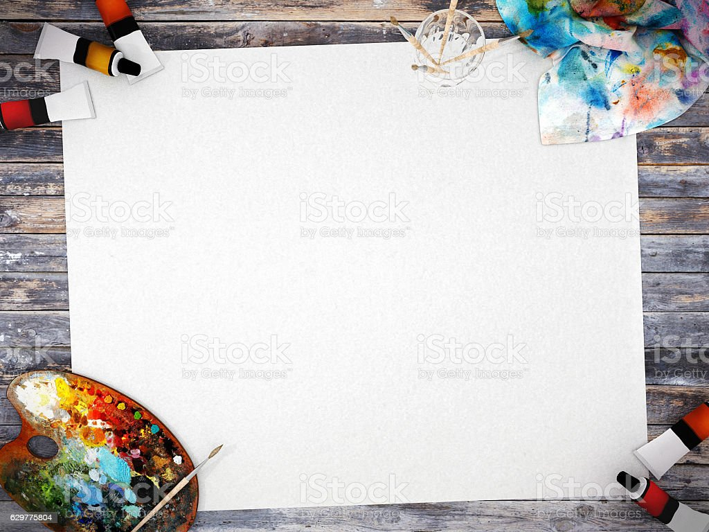 Empty white poster paper with painting equipment stock photo