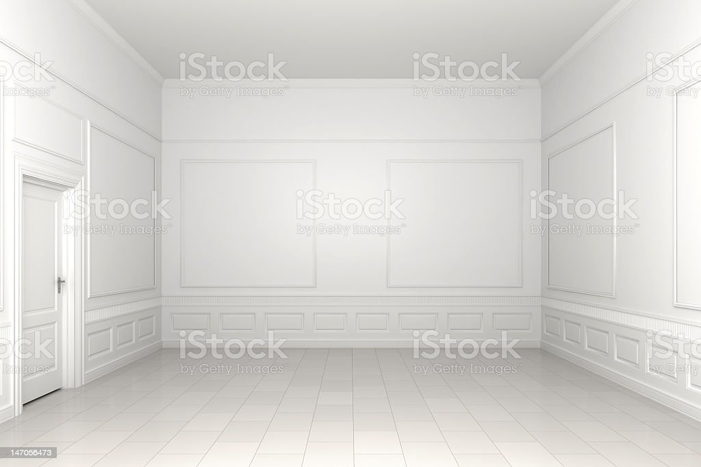 Empty white room with doors and frames stock photo