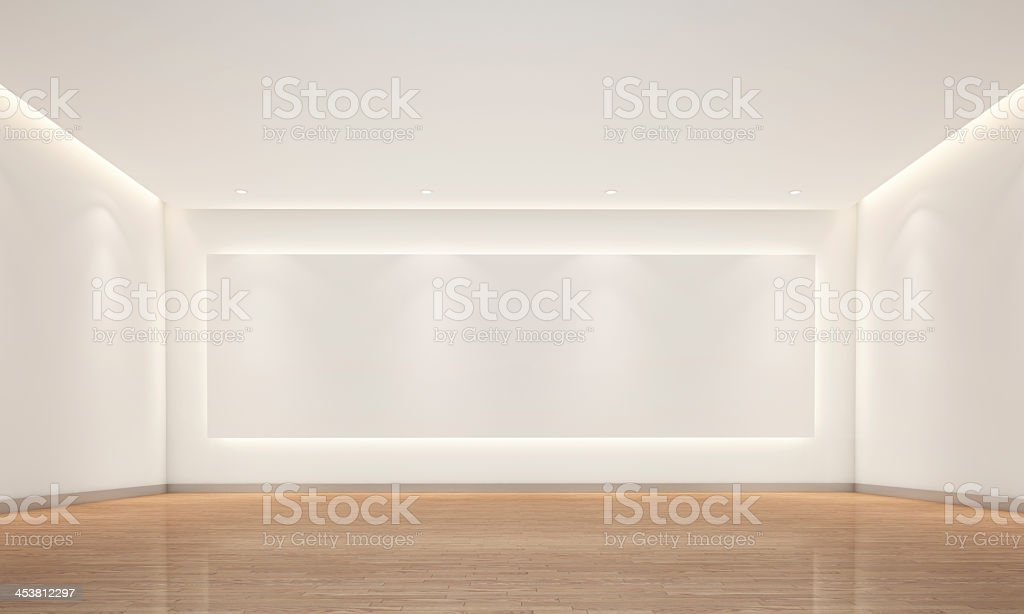 Empty white room with lighting stock photo
