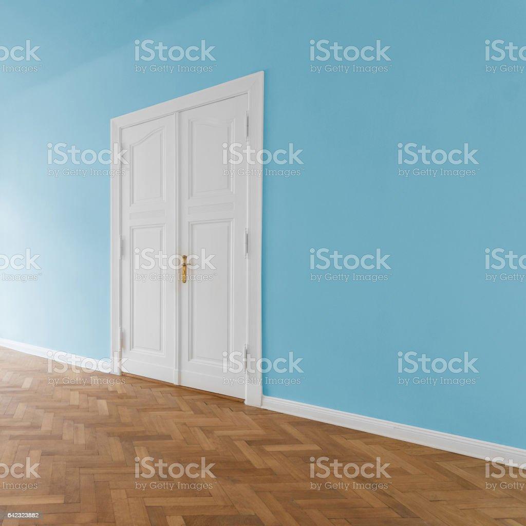 Empty white room with wooden  floor stock photo
