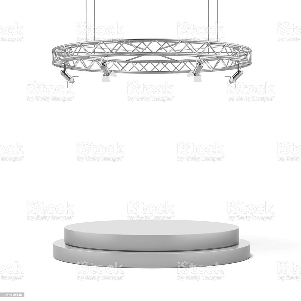 Empty white stage stock photo