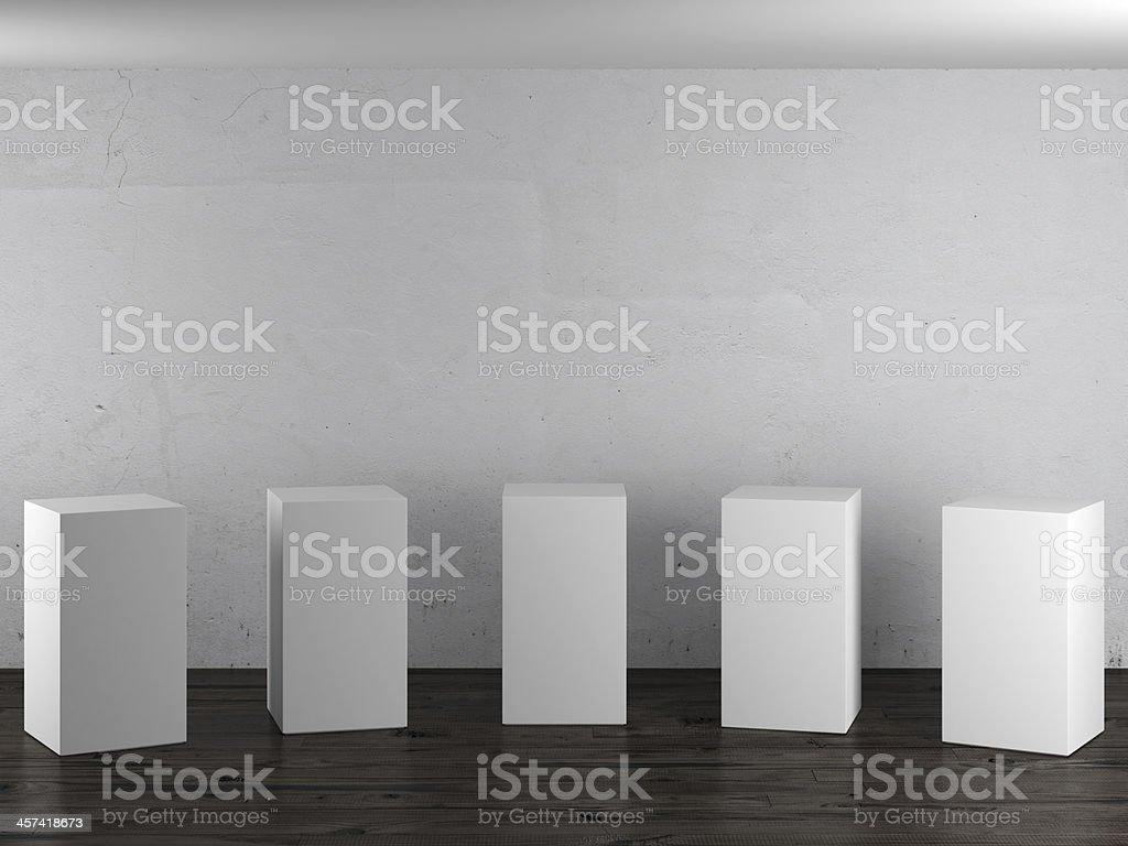 Empty white stands in interior stock photo
