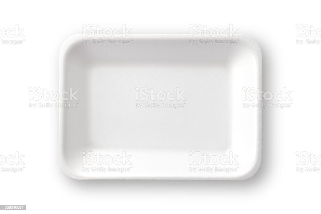 Empty white styrofoam food tray shot directly above. Clipping path stock photo