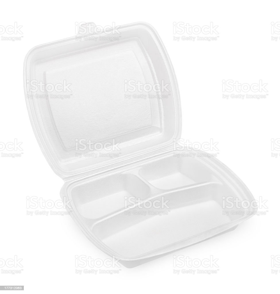 Empty white styrofoam meal box royalty-free stock photo