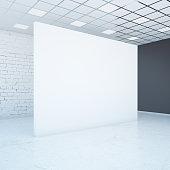 Empty white wall side