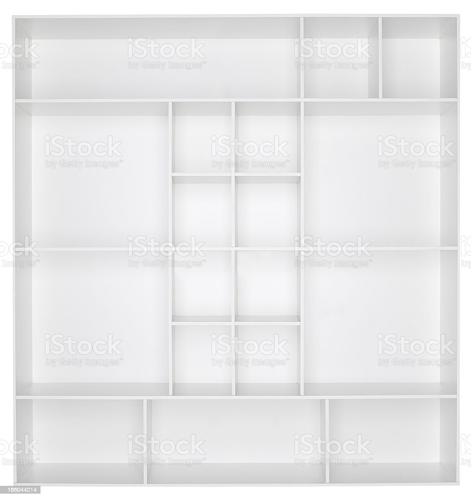 Empty white wooden bookshelf stock photo