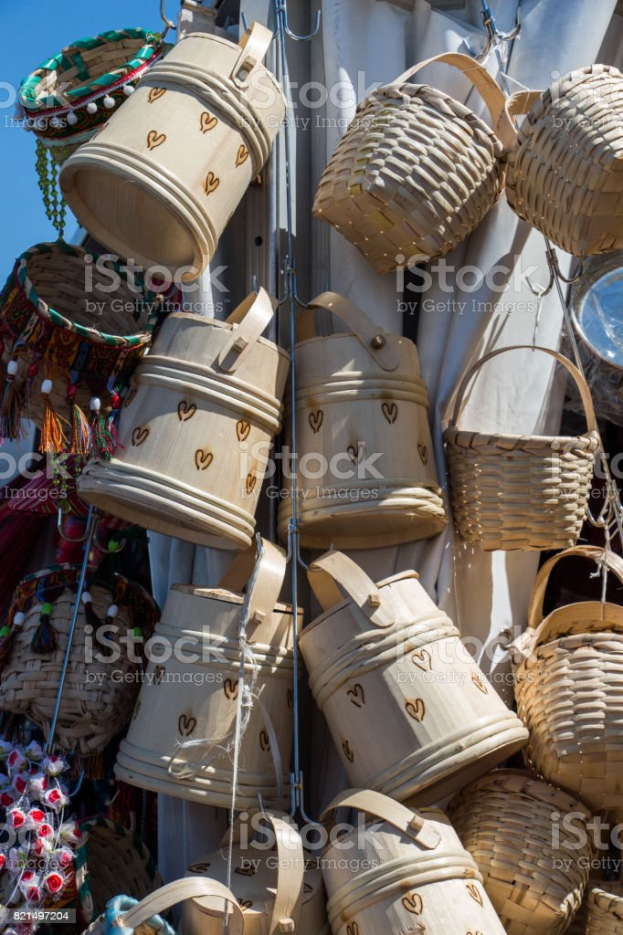 Empty wicker baskets for sale in a market place stock photo