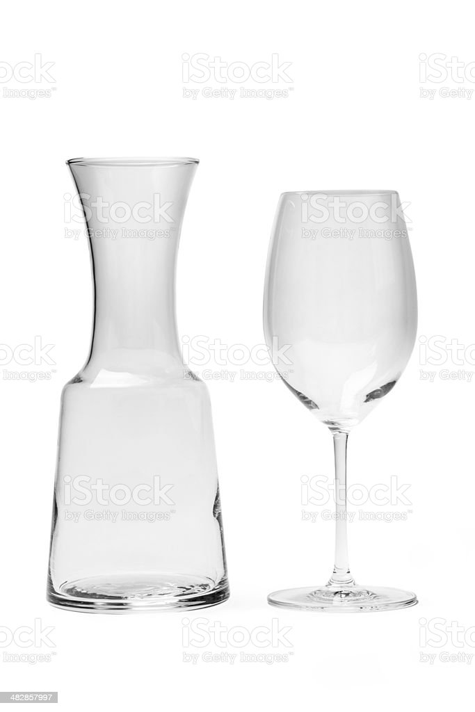 Empty Wine Glass And Carafe - Photo With Clipping Path stock photo