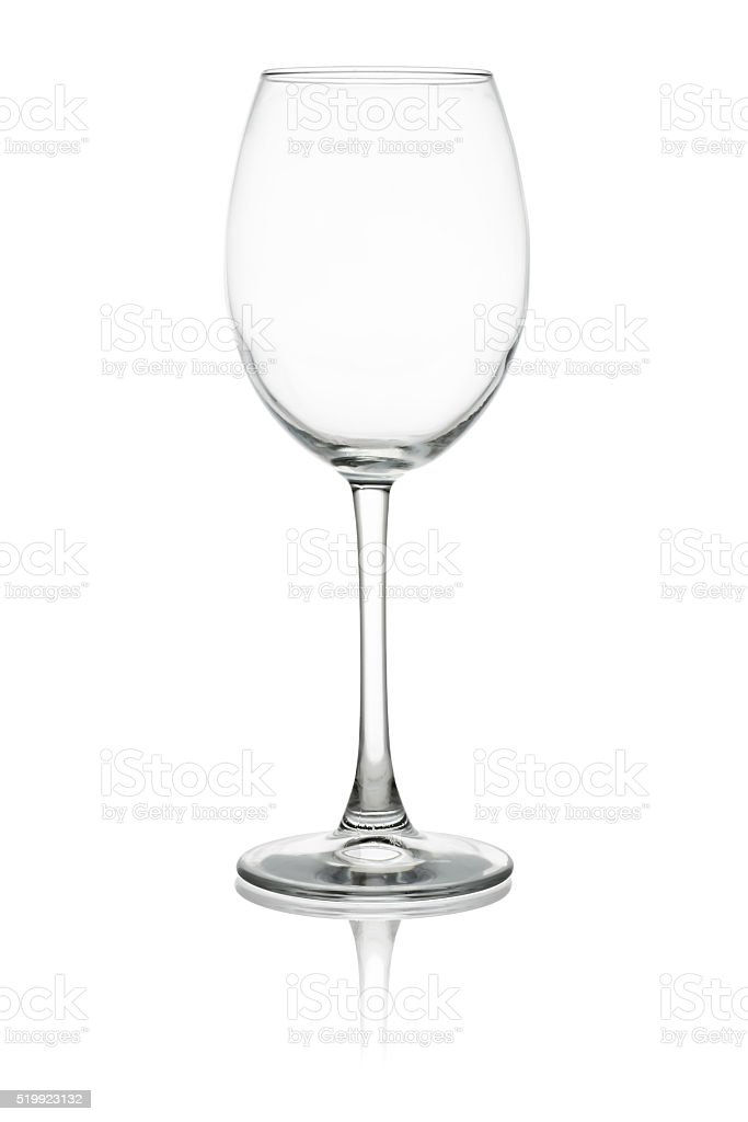 Empty wine glass isolated on white background stock photo