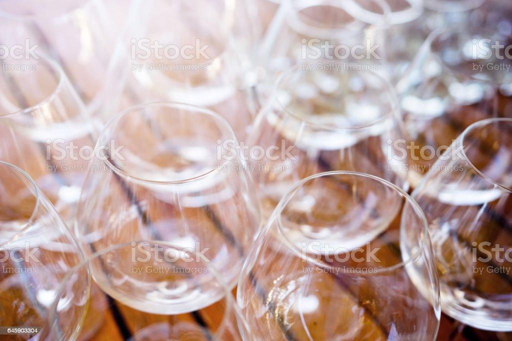 Empty Wine Glass prepare for Party stock photo