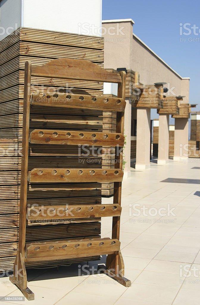 Empty wine rack royalty-free stock photo