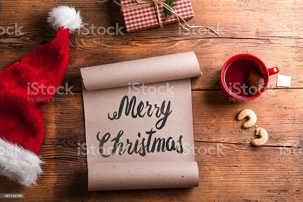 Empty wishlist for Santa stock photo