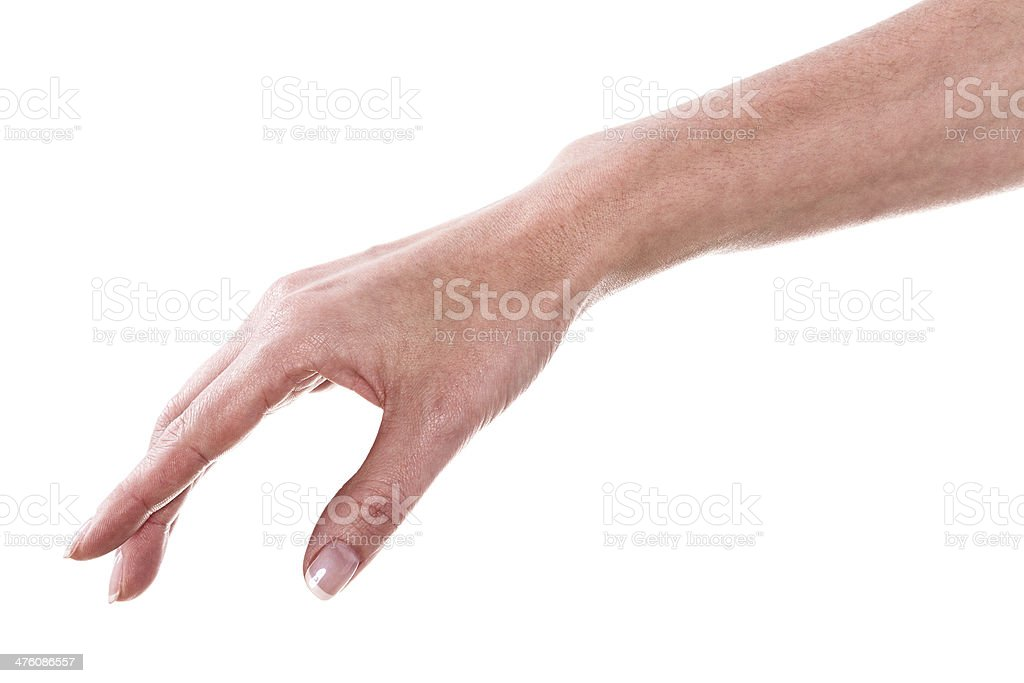 Empty woman hand isolated on white background stock photo