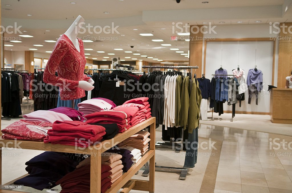 Empty woman's clothing store. stock photo