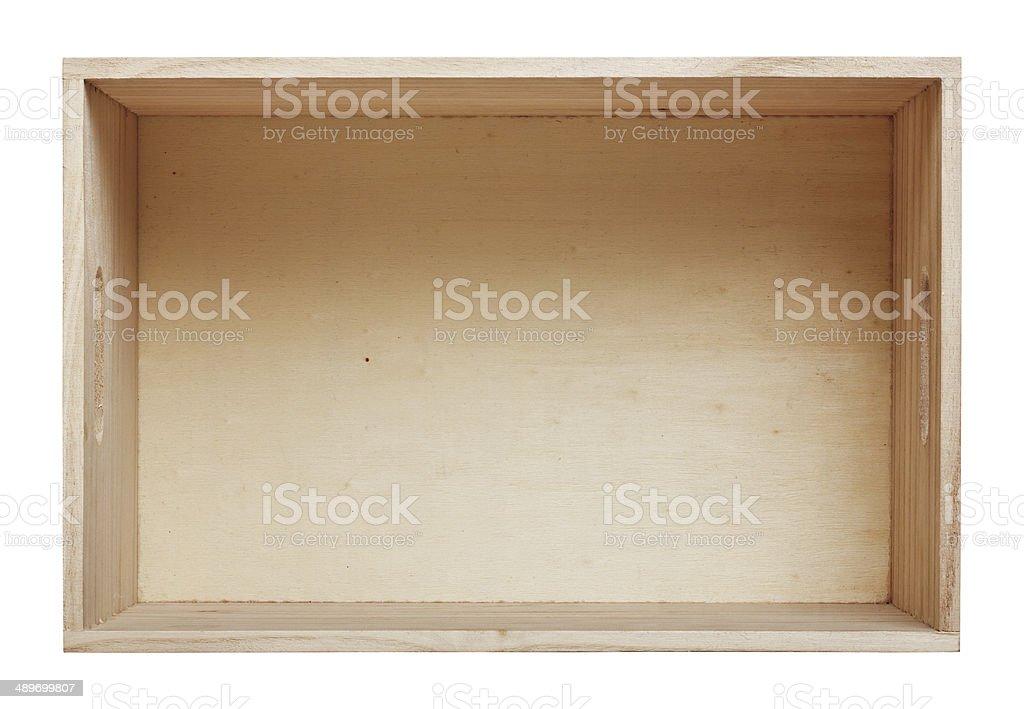 Empty wood box with white background stock photo