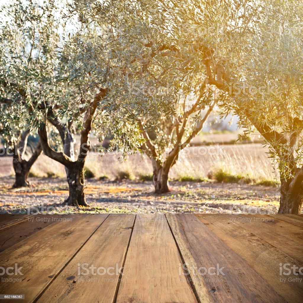 Empty wood table outdoors stock photo