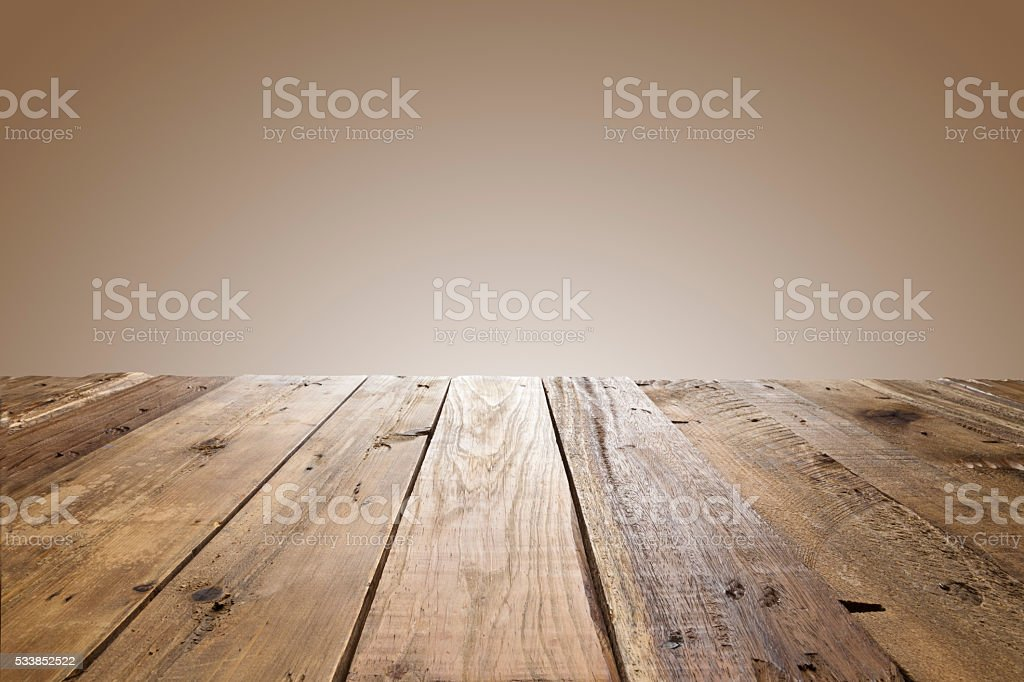 Empty wood table with brown background stock photo