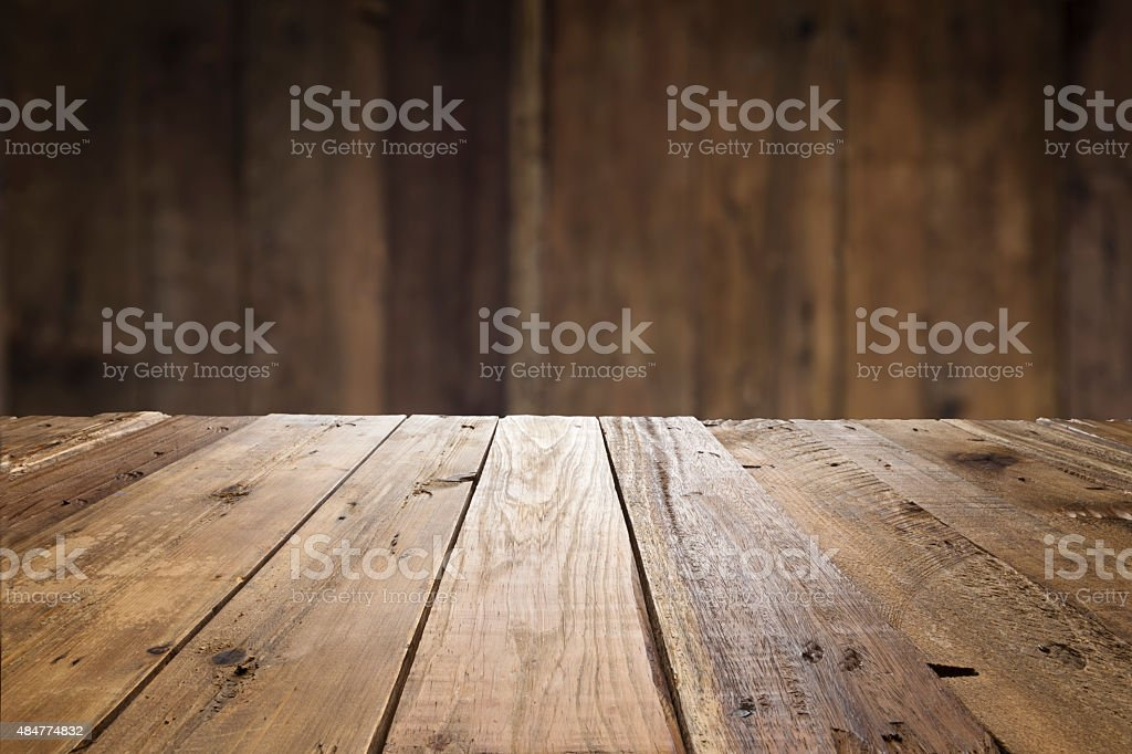 Empty wood table with defocused vertical table background stock photo