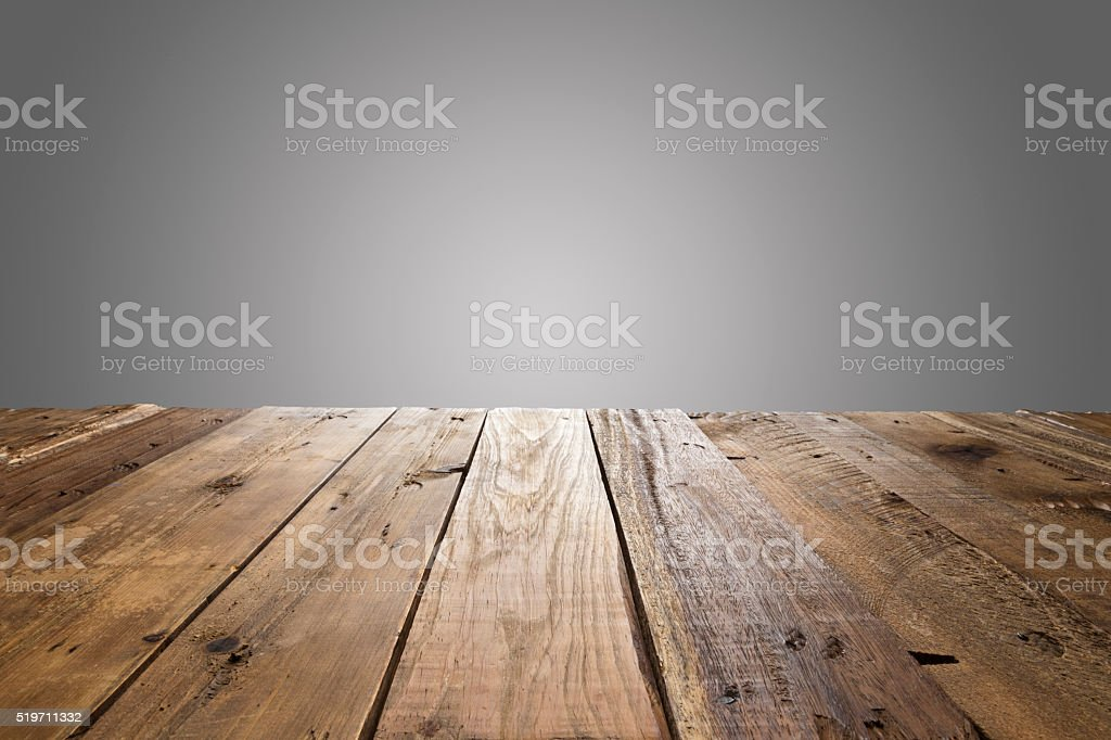 Empty wood table with gray background stock photo