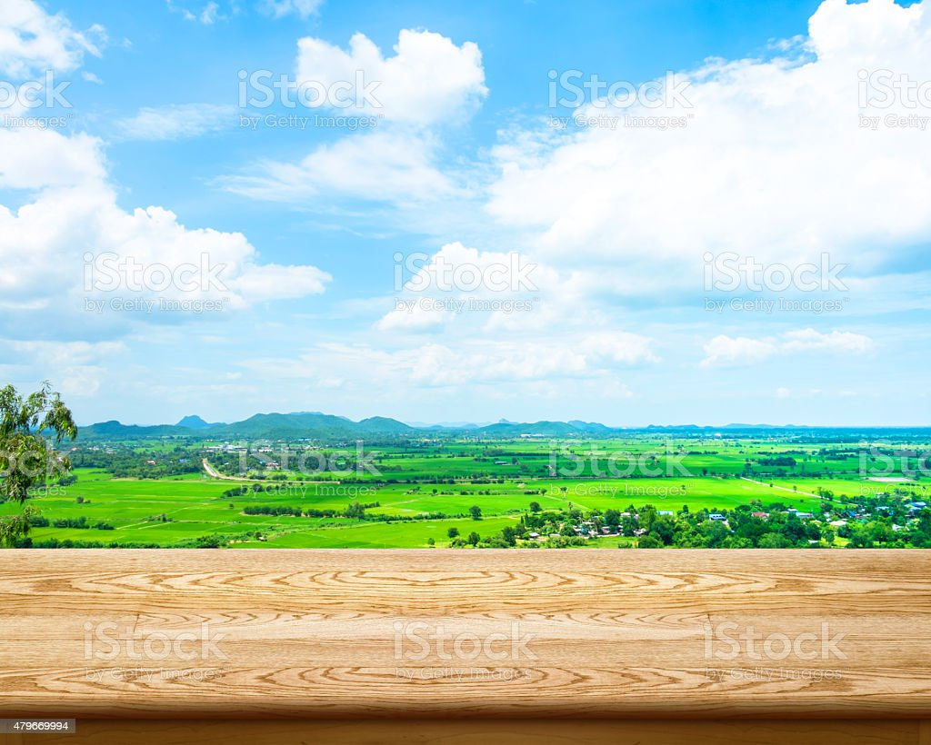 Empty wood table with green field and blue sky stock photo