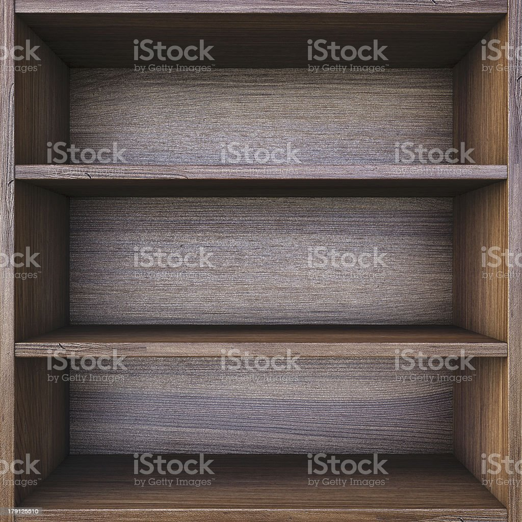 Empty wooden 3 tier shelf evenly spaced on black background royalty-free stock photo