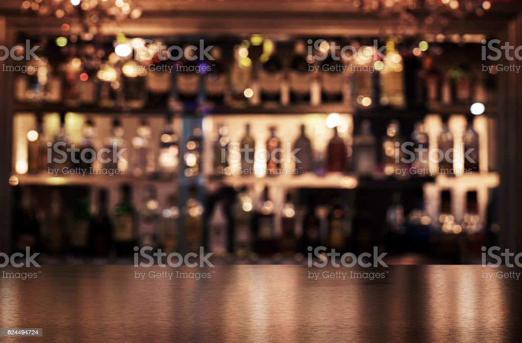 Empty wooden bar counter stock photo
